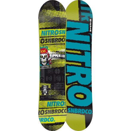 Snowboard Nitro knows you can't just slap some goofy graphics on a full-size board and have it work for still-growing groms. Thanks to a forgiving youth-specific flex and stable yet playful zero-camber profile, the Ripper snowboard is fully equipped to get your kid on the fast track to Shredistan. - $125.97