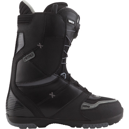 Snowboard The value-loaded Nitro Ultra TLS Snowboard Boot hooks up a solid fit and easy-to-use lacing system, complete with a mellow flex preferred by skate-influenced riders for tweaking out grabs and leaning into proper blunts and tailslides. - $143.97