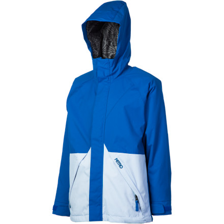 Snowboard Send Junior out into the wild armed with the Nitro Boys' Abstract Jacket. The Abstract has a fixed hood, powder skirt, and wrist gaiters so your ripper can focus on improving his riding, not pulling the snow out of his jacket. - $48.98