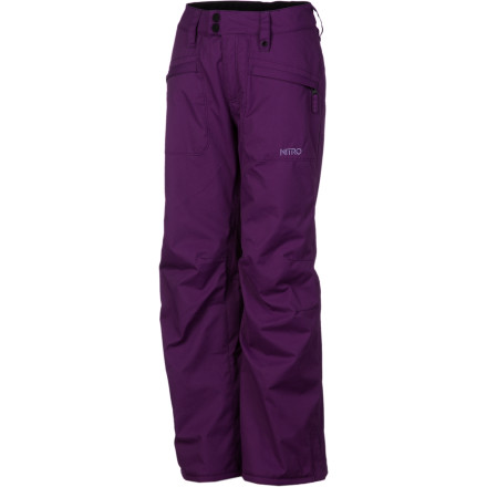 Snowboard Contrary to what the name might suggest, the Nitro Girls' Regret Pant won't leave you slapping your forehead with your wallet. A burly polyester shell houses 60g Polyfill insulation for a cozy, durable design that's both weather-resistant and warm. - $29.99