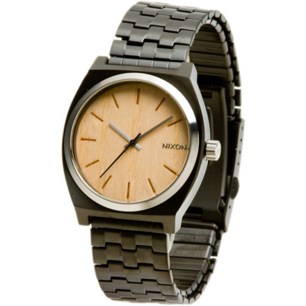 Skateboard The Nixon Men's Time Teller Watch's simple style goes back to the basics. From board shop to boardroom, this Nixon watch's accurate three hand Japanese quartz movements keep you on schedule. The Time Teller's clean, minimalist look goes anywhere, and its stainless steel case will stand up to years of daily wear. The 100-meter water resistance rating ensures this casual watch will survive your surf or hot tub sessions. - $51.95