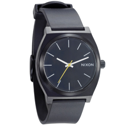 Entertainment With a sleek, simple design and colors that rival your last acid trip, the Nixon Time Teller P Watch does exactly what its name implies. This no-frills, high-style watch resists water up to 100 meters, and its 3-hand Japanese quartz keeps you on time, provided you can read a hand clock. - $44.97