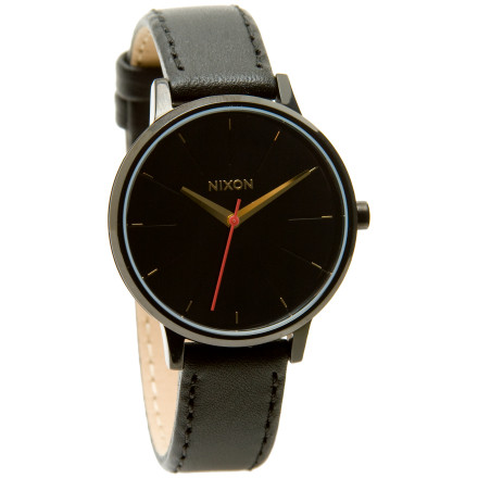 Entertainment When what you want is a classy, understated watch to tell you the time, the Nixon Womens Kensington Leather Watch steps up. This analog timepiece matches your business suit and designer denims, and its highly water resistant for when you surf or snorkel during your tropical vacation. - $77.95