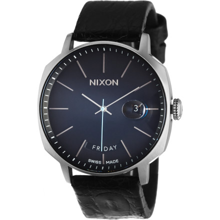 Entertainment Nixon designed the Regent Watch to be an ultimate time piece. The Swiss-made, 25-jewel watch gives you high-end accuracy, and the minimalist face design and six oclock day position create a level of style that transcends the average wrist watch. - $1,199.95
