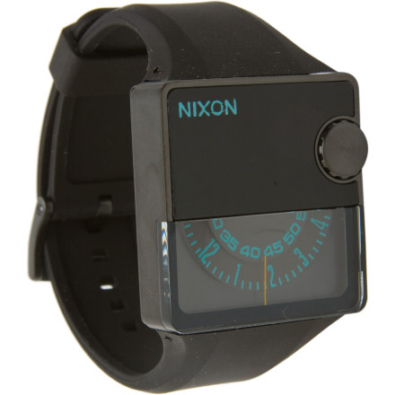 Entertainment The Nixon Rubber Murf Watch is a brilliant blend of vintage style and futuristic design. The unique, rotating half face moves with Japanese quartz accuracy, and the built-in LED light makes sure that you know the time even if you're in the dark when it comes to everything else. - $194.97