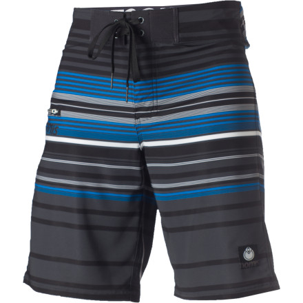 Surf Put on the Nomis Vertigo Board Short and watch dizzying amounts of good times ensue. The poppy, striped Vertigo features tons of four-way stretch, adding mobility and minimizing rashing. - $26.98