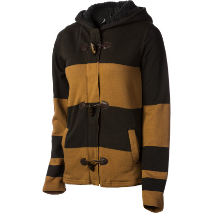 Surf The O'Neill Women's Rocko Jacket brings casual coolness to chilly weather wear. Slip into this Sherpa-lined hoodie when you want a warm, soft look and an even warmer, softer feel. - $59.03