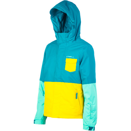 Snowboard The O'Neill Girls' Pocket Jacket is more than just a collection of nifty pockets, inside and out. It has 5K waterproofing and breathability, durable material, and of course, it looks good. - $45.48