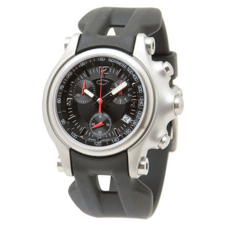 Surf The Oakley Men's Holeshot Watch's brushed stainless steel casing and Unobtanium rubber strap blends sophistication and rugged versatility. Three subdial chronograph settings feature stopwatch functions accurate to one-tenth of a second. An anti-glare sapphire crystal face resists scratches when the Holeshot accompanies you on your backcountry adventures. A dual sealed crown gives you water resistance to depths of up to 330 ft (100m). The Holeshot watch keeps you on time with a four-jewel quartz movement. A mechanical date display rounds out the features of this Oakley Sport watch. - $650.00