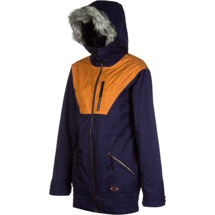 Snowboard Go straight from the hike to the hill to the town in the stylie Oakley Women's MFR Jacket. With a backpack strap system so you can sling it while hiking, cozy fleece insulation right where you want it, and fur-trimmed hood and longer length, this jacket is a true alpine cosmopolitan. And with the MFR's eco-friendly recycled material, you'll be ever in vogue. But don't let the versatile sophistication make you think it's not high-tech protection, because with the laminated shell, vents, and powder skirt, you'll log serious shred time before the lifts close. - $196.00
