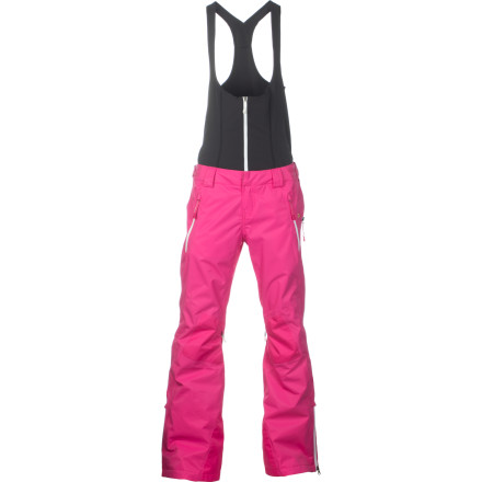 Snowboard A bib sans the bulk, the Oakley Women's Grete Pant keeps snow from blowing up your back or sneaking into your bottom. Its top is smooth and form-fitting for no added puffiness, and it's detachable for milder weather when it would just make you sweat. The pant and bib both are laminated and fully taped for dry, breathable comfort on those less-than-bluebird days; vents, an adjustable waist and the stretchiness of bib add to the comfort for all-day, all-season wearability. - $150.00