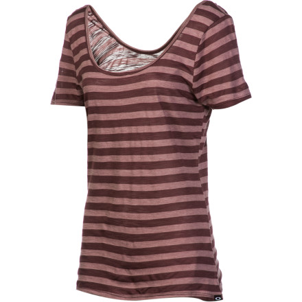 Once you pull on the Oakley Women's Shiver Scoop-Neck Top you'll wish you had ordered two. This everyday classic tee features a scoop front and back and a flattering, feminine fit. - $19.60