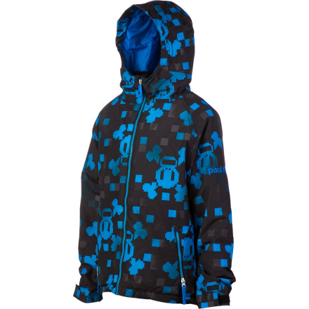 Snowboard The Paul Frank Boys' Skurvy Digi Insulated Jacket keeps your guy warm and dry whether he's putting spit and polish on his toe side or just laying down the smack in an epic snowball battle. Plus, the cool style means he'll look good all winter. - $45.48