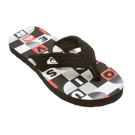 Entertainment Before heading to the beach or pool, hand each of your kids a pair of the Quiksilver Foundation Sandals. The Foundation flip-flops have arch support and soft straps for comfy strolling on the sand or deck. Footbed graphics match the season's Quiksilver board short patterns. - $14.40