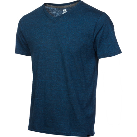 Surf T-shirts with crazy, new-fangled prints are all the rage. Fight the masses with the simple, clean look of the Quiksilver Men's Blank Heather V-Neck Slim T-Shirt. Slim style fends off bagginess that would hide your bulging biceps, and a touch of rayon helps the smooth cotton and poly fabric stretch a little. Quiksilver even went for the V-neck style with this tee, further securing its place as your go-to threads for long walks on the beach just before sunset. - $19.80
