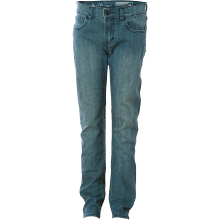 Entertainment You may not be able to skate like Alex (at least not yet) but you can certainly dress like him in the Quiksilver Alex Olson Denim Pant. This slim, straight-leg pant has a little bit of give to it so you can bust a move at the park. - $23.80