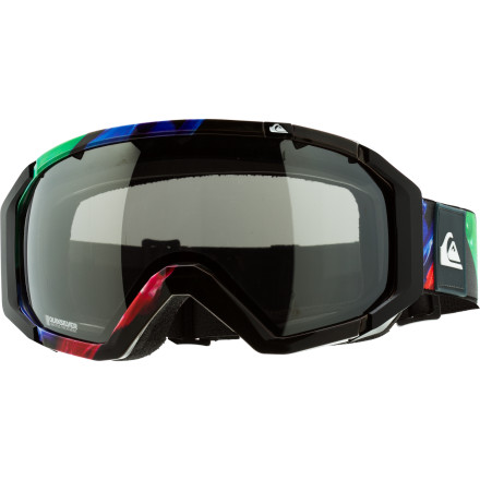Snowboard You live for those bluebird days on the mountain, but your eyes aren't so stoked about all those UV rays barreling out of the sky and bouncing around on the fresh, white snow. Protect them with the Quiksilver Q2 Goggle; the double-layer polycarbonate and acetate lens blocks out 100% of UV rays so you're not seeing spots by the end of the day. The spherical shape of the lens follows the natural curve of your eye so you get a distortion-free view; the Q2 also resists scratching, and prevents fogging with its anti-fog treatment. - $74.97