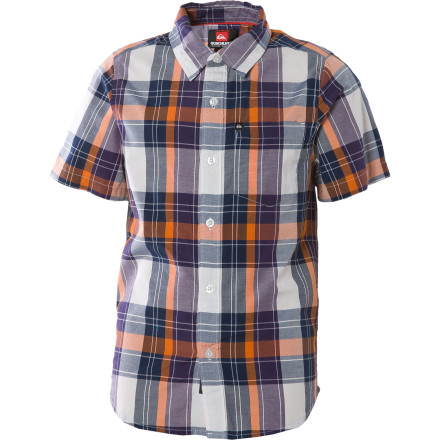 Surf Set your boy up with the Quiksilver Boys' Goldrush Shirt and then turn him loose on his sitter. The Goldrush's classy looks will trick her into thinking that he's an angel just long enough for you and the spouse to slip out the door. - $21.00