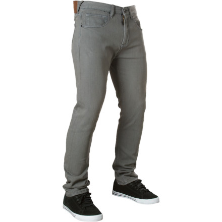 Surf The fit of the Quiksilver Men's Evol Thoughts Tapered Denim Pant has the tight cuff that you craves with a little more room at the waist. Classic denim cotton gives the Evol Thoughts pant its jean status and a touch of spandex stretches its casual comfort to levels unheard of back when Jersey tuxedos were required to attend public high school. - $35.75