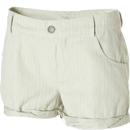 Surf Wear the Quiksilver Women's Sand Stripe Shorts while you sit on your yacht sipping champagne and watching Cannes come into view as you cut through the waves. These subtly striped shorts have a rolled cuff and a short inseam to let your legs soak up the sun and show off your stems. - $20.30