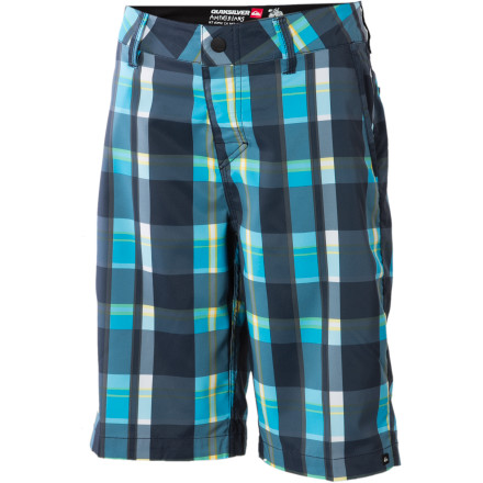 Surf The Quiksilver Boys' Epoch Hybrid Short sure looks like a pair of super-stylish casual shorts, but a blend of polyester and spandex deliver plenty of stretch for active days on the beach. A water-resistant coating means this bad boy dries ultra-fast to help facilitate quick transitions from the waterfront to the car. - $20.80