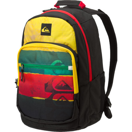 Camp and Hike With plenty of room to carry your school, work, or skatepark essentials, the otherwise-basic Quiksilver Schoolie Backpack features an insulated cooler pocket to keep your beverage of choice frosty and delicious. - $31.50