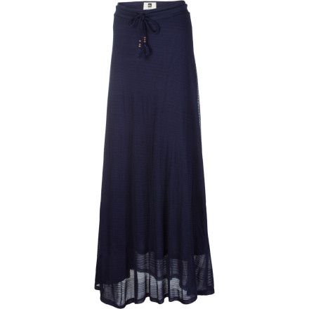 Surf Don't be surprised if wearing your Quiksilver Shadow Stripe Maxi Skirt makes you feel like supermodel. The soft, fluttery fabric turns shifting air currents into sensuously playful photo ops. You might as well hire a team to follow you around with rotary fans and cameras. - $50.40