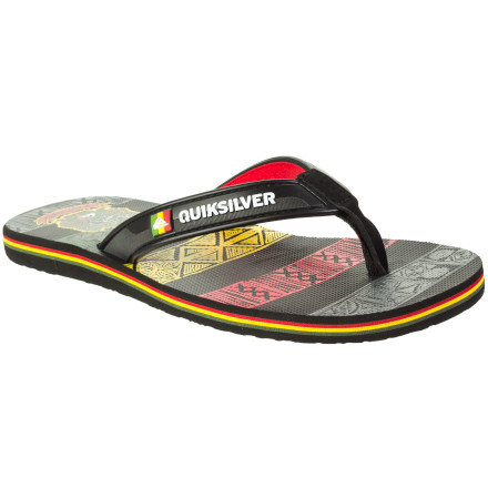 Surf Part of the Quiksilver Freddy P collection, these basic flip-flop sandals feature cushy synthetic construction and some sweet custom footbed art. - $13.20