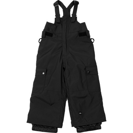 Snowboard The Quiksilver Little Boys' Cinder Bib Pants give your little guy grown-up protection from the weather so he can get on his board, get into the snow, and get after it. These insulated bib pants uses technical insulation and a DWR finish to keep him dry and warm while he's learning to board. - $31.50