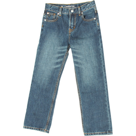 Surf Junior probably isn't too concerned with how he looks now, but 10 years from now it'll make a huge difference. Take the terror out of the family album with the Quiksilver Little Boys' Revolver Denim Pant. - $42.00