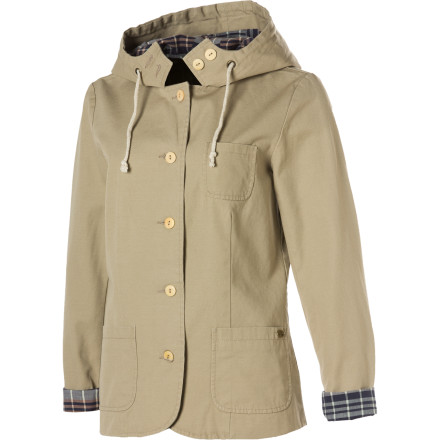 Surf The Quiksilver Women's Bar Harbor Hooded Blazer has a carefree feel that will make you want to sip white wine spritzers on the patio of your home in East Hampton. If you don't happen to have a home in the Hamptons, just stick to the wine until you feel like you do. - $42.25