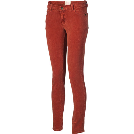 Surf Whether you're dashing across campus to class or heading downtown for a girls' night out, you're looking good and moving comfortably in the Quiksilver Women's Woodstock Skinny Cord Pant. A body-conscious fit is balanced by comfortable stretch to make this corduroy pant a go-to favorite. - $27.80