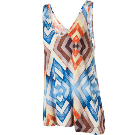 Surf Slip on the Quiksilver Women's Greenwich Geo Tank Top, grab your blazer, and head out for a drink with the ladies at your local wine bar. - $22.00