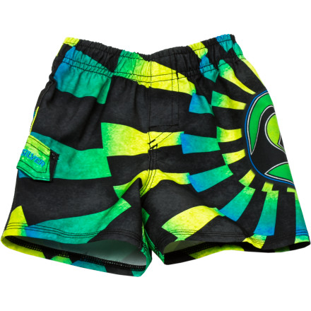 Surf Have him styling at mommy 'n' me swim lessons in the Quiksilver What Not Volley Infant Boys' Board Short. A stretch waistband and stretch hem stitching won't hold him back when he's mastering the doggy paddle or taking his first steps at the beach. - $18.90