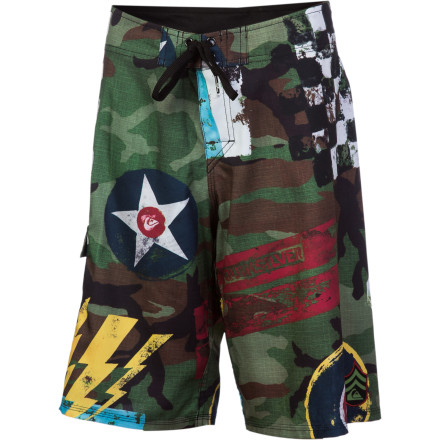 Surf That's no shark bite on the thigh of the Quiksilver Boys' Flying Fortress Board Short, it's a tribute to the fierce power of long-range WWII bombers. So get out there and destroy some waves with big blasts off the lips and bomb-like drops into the curl. - $27.00