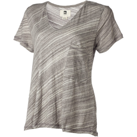 Surf Toss on the Quiksilver Women's Coastal V-Neck Short-Sleeve Shirt, grab a bagel to go, and head to the pier to check out how your little brother is holding up in the surf comp. - $22.00