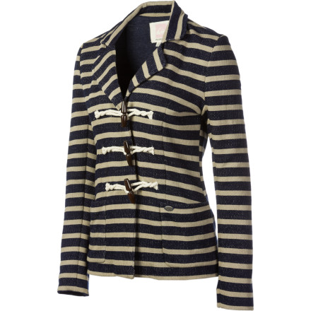 Surf Quiksilver fashioned the Women's Port Stripe Fleece Blazer with a nautical theme, so feel free to use it to sail through the city in style. - $44.75