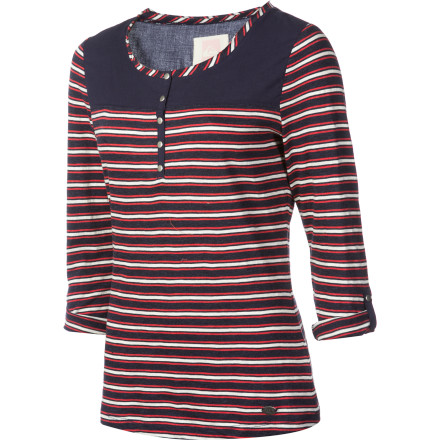 Surf Whether paired with skinny jeans or joined forces with your favorite skirt-and-tights combo, the Quiksilver Women's Stripe Henley Shirt is that fashionable top that you'll most likely wear holes through from wearing so often. - $19.75