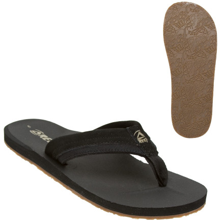 Entertainment With an ultra-grippy rubber outsole, the Reef Men's Stuyak Sandals keep you from tanking on slippery sidewalks. The Stuyak Sandals' soft suede and canvas strap keeps your feet comfortable as you head to work or stroll downtown, and these Reef flip-flops' molded footbed and arch support feel cushiony all summer long. - $22.36