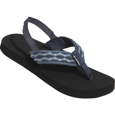 Surf Looking for the classic Reef flip-flop for your kid Look no further than the Reef Grom Contour Smoothy Sandal. These kids' flip-flips are the pint-sized version of the quintessential Reefs. They feature woven straps, Reef's super-comfortable, triple-density EVA midsoles, and anatomically correct arch supports. On the infant sizes, the Grom Contour Smoothy Sandals have an optional elastic backstrap for additional heel support. - $10.97