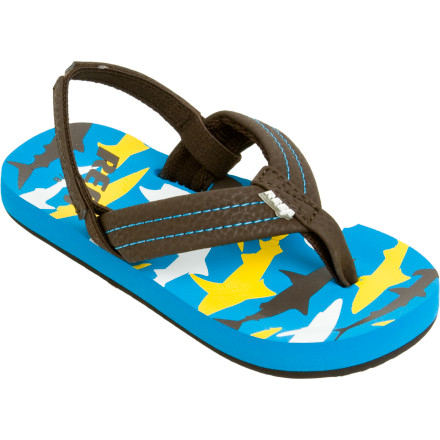 Surf The Reef Ahi Sandal will be perfect for your boy's first adventure to the surf or the pool. The Ahi has a synthetic strap with cush polyester lining for comfort paired with an optional back strap for added stability when he walks through deep sand. - $15.96