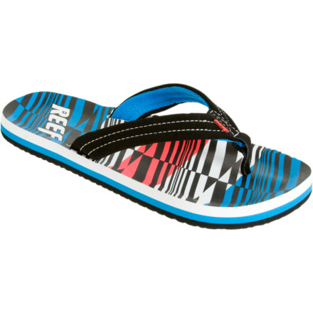 Entertainment The Reef Ahi Sandal dishes up full-sized comfort for still-growing boys. A soft synthetic strap and anatomical EVA footbed provide luxurious arch support both in and out of the water. - $17.96