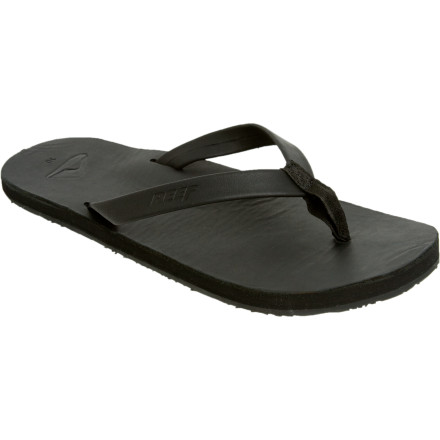 Surf Keep your style simple with the Reef Mens Skinny Leather Sandal. Its full-grain leather footbed and skinny strap makes it easy for you pair with your board shorts. An abrasion-resistant, molded rubber outsole also stands up to your late night shenanigans. - $28.77