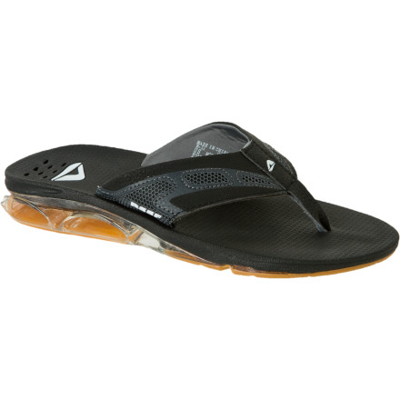 Surf Instead of chipping your tooth trying to open a beer bottle, take off the Reef Men's X-S-1 Sandal and use its integrated bottle opener to open your tasty beverage. This comfortable flip-flop features a compression molded EVA footbed with anatomical arch support, which IS key when your job entails selling loud t-shirts on the boardwalk. The X-S-1 even has a drainage system in case some drunk chick spills beer all down the side of your leg, and its durable, grippy outsole ensures you won't go sliding across the beer-soaked dance floor. - $58.46