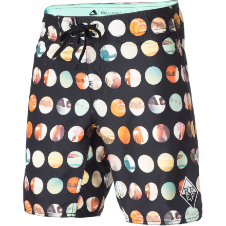 Surf If you didn't know already, Reef really, really, really loves beach babes and the Men's Miss Reef Dot Board Short is laden with small pictures of the bronzed beauties as proof ... or inspiration, you decide. - $35.97