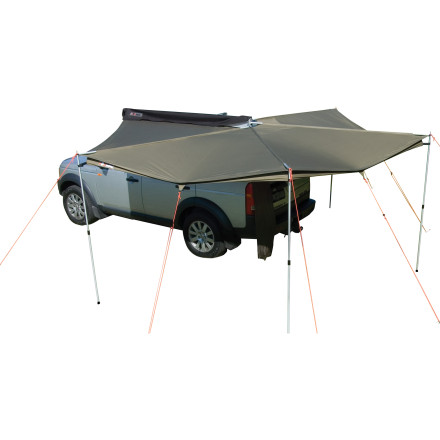 The Rhino Rack Foxwing Awning Extension attaches to your Rhino Rack Foxwing Awning and, depending on how you want to use it, the extension can add more overhead shade or act as a sidewall to protect you and your gear from crosswinds or late afternoon sun. - $139.00