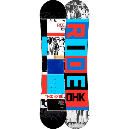 Snowboard The Ride Kids' DHK Snowboard delivers huge amounts of pop, control, and all-mountain freestyle capabilities for smaller riders. Using an array of tech including Slimewalls, Twin Rocker, and the weight-reducing Thin Con construction, the DHK will enable little rippers to handle business on big features. - $149.97
