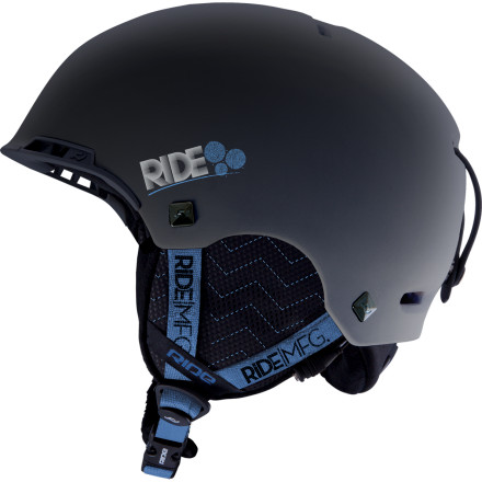 Snowboard The two worst dangers during a day of riding are slamming your head into a tree and getting stuck on the chair with a gum-flapping tourist gaper. The Ride Pixie Helmet takes care of both problems with lightweight in-mold construction and a Premium Ride Audio Sound System. And style Fuggedabaddit! - $97.46