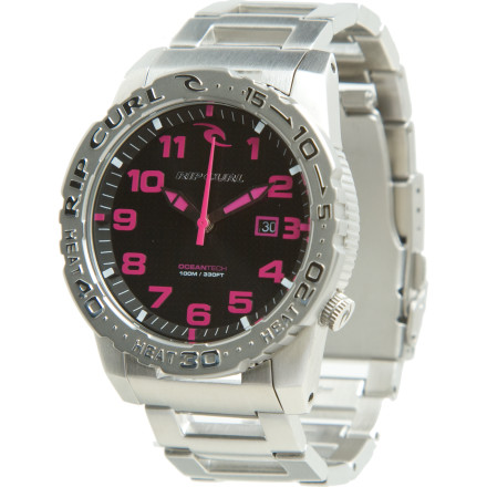 Entertainment Rip Curl Women's Cortez 2 SS Heat Bezel Watch is bling for your wrist that can take the heat. Whether you're dominating the dance floor or catching a ride at the surf break, the Cortez's sturdy stainless steel case and band stands up to the elements and your own frenetic movement. - $199.95