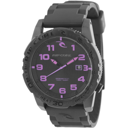 Entertainment All blacked out save for the pink face indicators, the Ripcurl Cortez 2 PU Watch is kind of like a badass biker-gang girl wearing a tiara: Mostly dark, with just a touch of femininity. - $149.95